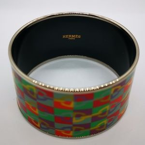 💯 Hermes Enamel Wide Bangle Bracelet